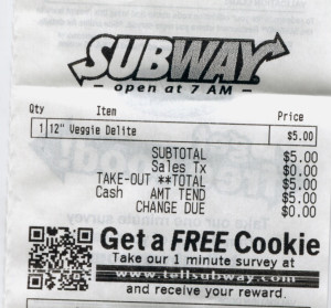Subway receipt